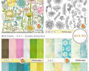 Wild Flower Combo, Country WildFlowers, Shabby Chic Floral, Vibrant Teen, Graphic Design Bundle, Instant Download ClipArt