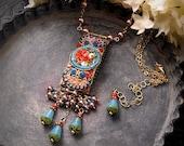 Mosaic Garden Necklace, Vintage Italian Micromosaic, Czech Picasso Glass, 14K G.F., Red, Sky Blue Opal, Lavender, Romantic Festival Jewelry