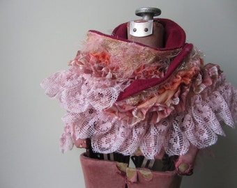 Sassy Fabric Boa Scarf, Boho Chic Pink Lace Ruffle Scarf, Mori Girl Clothing, Tattered Upcycled Refashioned, Country Chic, Gypsy Soul