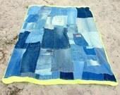 Denim Patchwork Quilt, Lime Green Fleece Back, Eco-Friendly Home Decor Bedding, Picnic Blanket, Dorm Room - Blue Denim, Lime Green