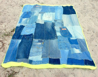 Denim Patchwork Quilt, Lime Green Fleece Blanket, Eco-Friendly Home Decor, Picnic Blanket, College Dorm Room Decor, Upcycled Teen Bedding