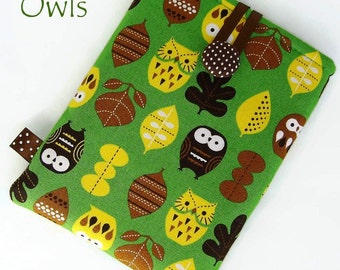 OWLS Tablet Case for Nexus 7, Kindle Fire HD, iPad Mini,  Nook, Galaxy Tab. Green, Yellow, Brown. UK Handmade.