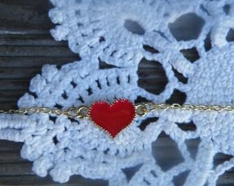 50% off this item, enter LOVE99 at checkout, Perfect Valentines Day Bracelet, Heart Bracelet, Red Heart Bracelet, Charm Bracelet