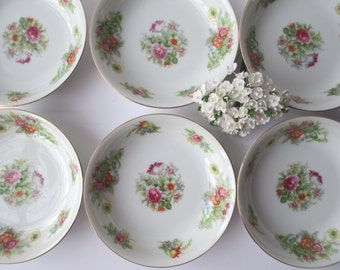 Vintage Aichi China Occupied Japan Floral Berry Bowls Set of Six