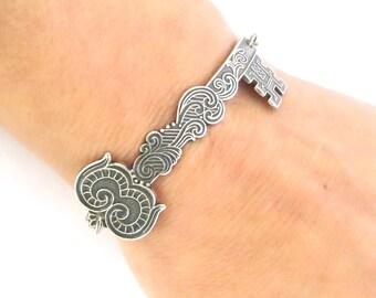 Steampunk Key Bracelet- Sterling Silver Ox Finish- Large Ornate Key