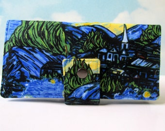 Handmade women's wallet - Starry night - Custom wallet - Add on ID clear pocket - custom monogramming or embroidery - gift for her