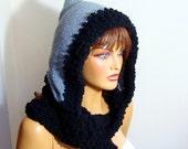 Hooded Women Winter Hat, Crochet Hooded Scarf, Fall Fashion, Holiday Accessories, Winter  Fashion, crochet gray black  Women Hat