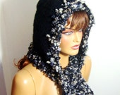 Black And Gray Hooded Women Winter Hat, Crochet Hooded Scarf, Fall Fashion, Holiday Accessories, crochet gray black  Women Hat