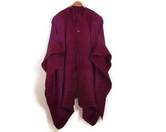 silk felted poncho, dark purple