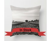 "16"" Train Track Pillow Cover, Black and White Throw Cushion, Aluminium Grey, Man Cave Decor, Teenager Gift Ideas, Railway Worker Present"