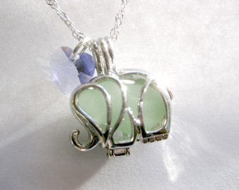 Sea glass  Elephant Necklace Sea Glass Jewelry Beach Glass Jewelry Handmade