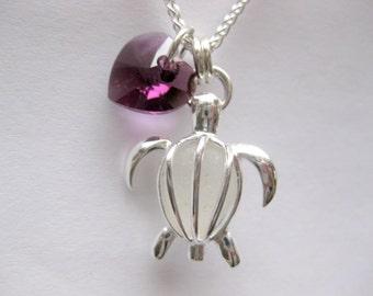 SS  Seaglass Turtle Necklace - Turtle Jewelry Sea Glass pendant Sea Glass necklace Beach Glass Jewelry Handmade, Custom Jewelry