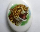 Cheetah Jaguar Cabochon Porcelain Oval Vintage from 1960s White Ceramic Puma Big African Safari Cat Germany Collectible Antique Rare