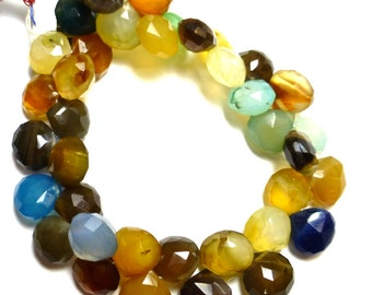 Chalcedony Briolette Beads Assorted Multi Colors Strand 8.5 Inches Natural Rainbow Medium Onion White Blue Green Yellow Tan Pink Translucent