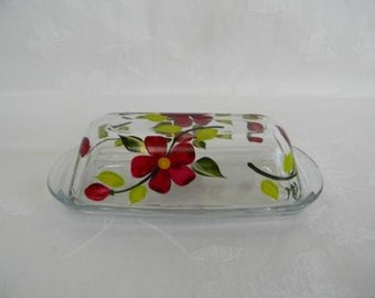 Butter dish, hand painted butter dish, painted red flowers