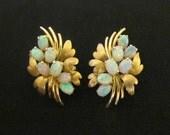 Fabulous Mid Century 14K brushed Gold Australian Fire Opal 2ctw Cluster Earrings ~ Matched Stones ~ Omega Backs