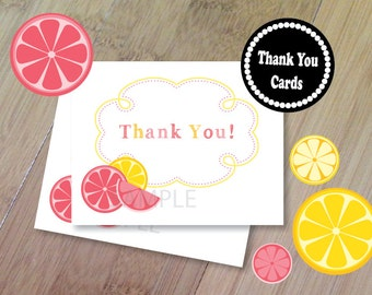 Pink Lemonade Thank You Cards, Set of 10 Blank Folded, Professionally Printed