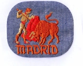 MADRID Spain Bull Fighter Denim Rectangle Vintage Retro Vintage Sewing Patch Applique Collectible