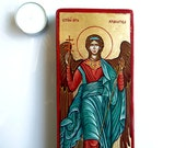 Saint Archangel Michael with sword icon, byzantine style, tempera on wood panel, 9 1/2 by 4 inches