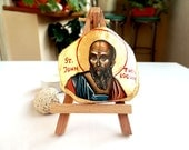 St John The Theologian, miniature handpainted icon 3 by 4 inches, Saint John The Apostle