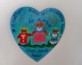 Wooden Heart Wall Plaque Child's Room Painting  Bedroom Wall Decor Art Hand Painted Three Bears Family Vintage Look Nursery Picture