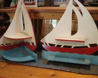 Vintage Folk Art, Vintage Nautical Folk Art, Vintage Sailing Boats, Boat Shelf/Display, Nautical What-not-Shelf