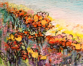 Original ACEO painting - Miniature art trading card, original ATC, 2.5 by 3.5 in - Upright Poppies, watercolour and ink landscape painting
