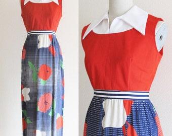 Vintage 1960's Red Floral Maxi Dress / Mod 60's 70's Long Length Red Blue & Green Floral Dress