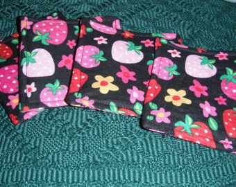 Coasters - Set of Four Fabric Mug Rugs with Strawberry Print