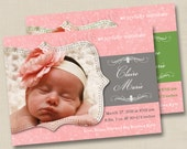 Precious in Pink Custom Photo Birth Announcement Design or any occasion