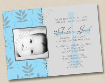 Our Little Boy Blessing Custom Baptism or Christening Announcement or Birth Announcement Design
