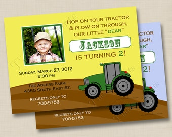 Hop On Your Green Tractor Custom Birthday Party Photo Invitation Design - any age