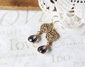 FANCY victorian lilac crystal drop chandelier earrings B13 (gold)