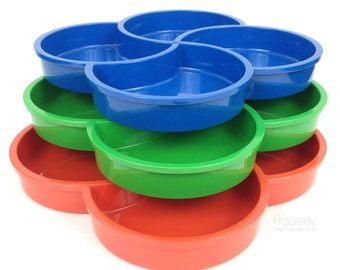3 Dansk Designs Gunnar Cyren Vintage Plastic Clover Trays Red Green Blue