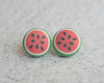 Watermelons Fabric Button Earrings