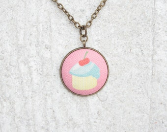 Birthday Cupcake, Fabric Button Pendant Necklace