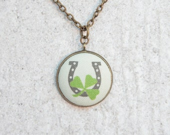 Lucky Horseshoe, Fabric Button Pendant Necklace