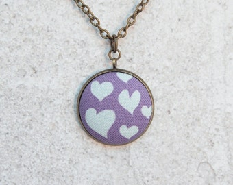 Cool Hearts, Fabric Button Pendant Necklace
