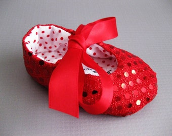 Red baby shoes Wizard of Oz ruby slippers girls red shoes little red riding hood red sequin baby shoes  Dorothy shoes - Joy