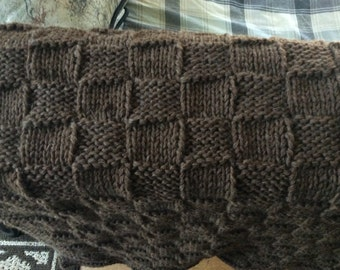 Knit wool throw/baby blanket (dark brown)