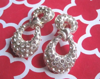 Infinity design Clip On Earrings Fancy Evening Silver Tone with Rhinestones Dangle Hoop #freeshipping FREE SHIPPING