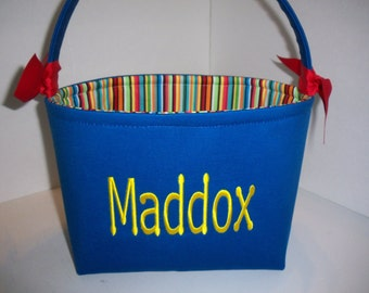Blue Red Orange Green Yellow Stripes Organizer bin / Fabric Basket / Small Diaper caddy - Personalization available