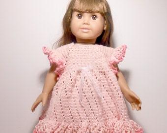 18 Inch Doll Dress,  Doll Dress,  Hand Crocheted Pink Dress for 18 Inch Doll, Pink Crocheted Dress, Pink Dress