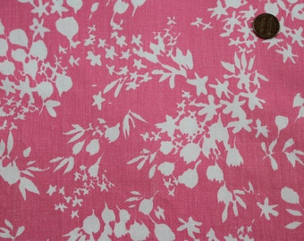Vintage Retro Pink White Floral Fabric Pretty 1950's