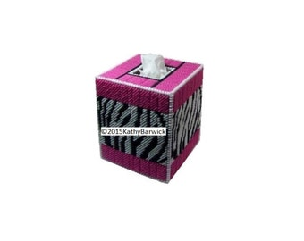 Plastic Canvas Zebra Stripes Boutique Tissue Box Cover PDF format Instant Download