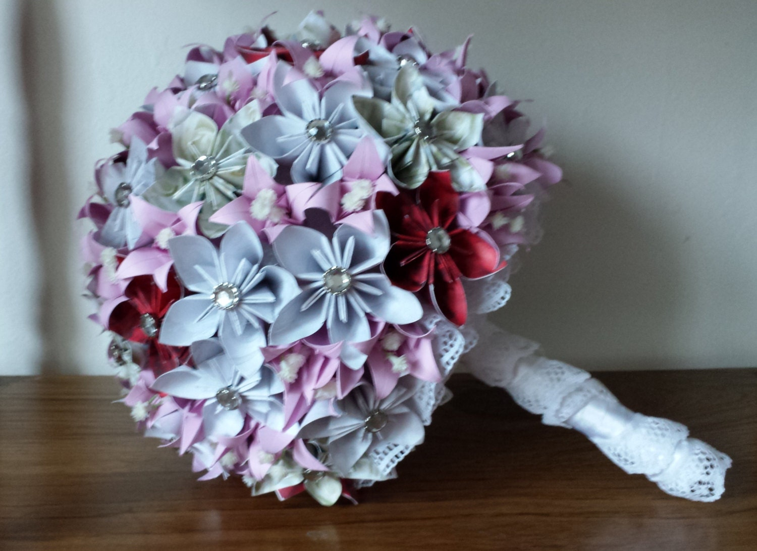 origami wedding bouquet purple