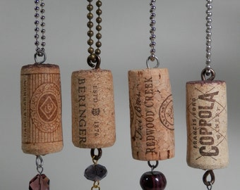 Choose 1 or More of 4 Beaded Natural Wine Cork Keychain/ Ring/ Fob Recycle Upcycle Tree Ornament Gift Package Topper Party Favor Novelty