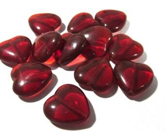 Czech Siam Red Glass Heart Beads Twelve (12) Czech Glass 15mm Pressed Transparent Glass Siam Red Wedding Jewelry Beading Supplies (L184)