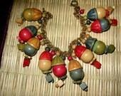 Antique Celluloid Dangling Charm Bracelet, Rare Find