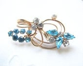 Blue Rhinestone Brooch Gold Wedding Brooch 1950's  from AllieEtCie